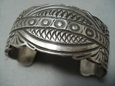 Over 100 Grams Vintage Navajo Yazzie Hand Tooled Sterling Silver Bracelet