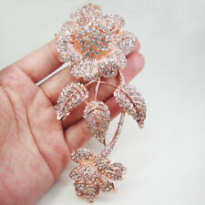 Rose Gold Tone New Charming 3 Leaf Flower Bouquet  Brooch  Pin Clear Crystal