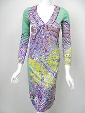 ETRO Dress Seafoam Green Purple Raspberry Paisley Floral Print V-Neck 38 2