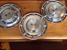 """3 Vintage Chevy Impala Hubcaps 14"""" Crossed Flags"""