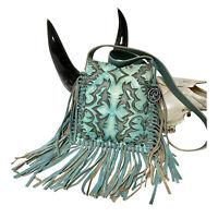 Raviani Western Crossbody Fringe Bag In Acid Wash Leather W// SQ Crystal Concho