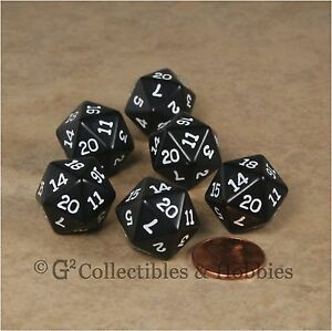 NEW Set of 6 Black with White Numbers D20 Dice Twenty Sided RPG D&D Game D20s