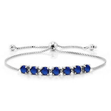 2.45 Ct Round Blue Simulated Sapphire 925 Sterling Silver Tennis Bracelet