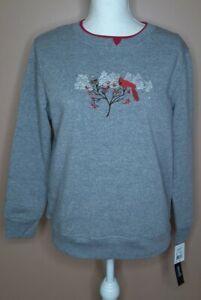 NWT Hasting & Smith Petites Long Sleeve Sweatshirt Size PS Gray Cardinal Snow