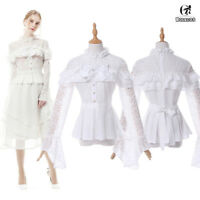 Women Girls Lolita Floral Lace Shirt Long Sleeve Ruffle Crochet Blouse Sheer Top