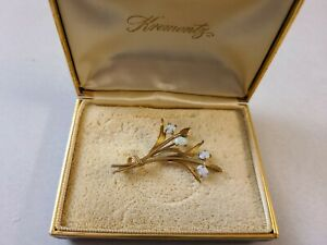 Vintage Krementz Goldtone Brooch with Stones
