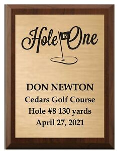 """HOLE IN ONE CHERRY FINISH WOOD PLAQUE CUSTOM TEXT  FAST SHIPPING 7"""" x 9"""""""