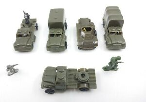 Army Men WW2 WWII World War: 5 Vehicles & 2 Soldiers (Made In Hong Kong) Vintage