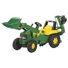 Rolly Toys John Deere mit Frontlader und Heckbagger Traktor Tretttraktor grün