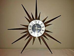 "Vtg Mid Century Modern Elgin Atomic Starburst Sunburst Sun 25"" Wall Clock  RARE"