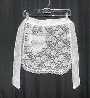 Vintage Half Apron White Lace Floral Pattern Nylon