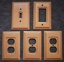 Amer Tac Lot of 5 Wood Light Plate Switch Electrical Wall Outlet Plate Covers