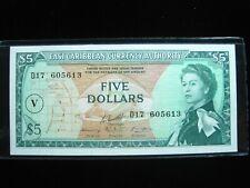 EAST CARIBBEAN ST VINCENT  $5 DOLLARS 1965 P14p V SHARP 13# BANKNOTE PAPER MONEY
