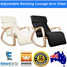 Birch Plywood Adjustable Rocking Recliner Lounge Arm Chair with Fabric Cushion