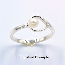( 4mm-8mm ) Pearl Open Lily Sterling Premium Ring Mounting (Ring Size 7)