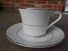Style House BROCADE Coffee Cup and Saucer  White on White JAPAN