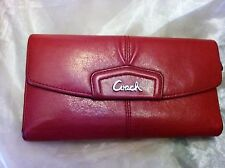 Coach Wallet Trifold Front Trademark Velvet Red leather Large