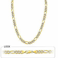 "8.00mm 24"" 64.50gm 14k Gold Two Tone Pave Men's Figaro Chain Polished Necklace"