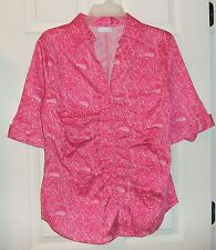 New York & Co Sz XL Stretch Blouse~Bright Pink Flower Print~Half Sleeve~Fitted