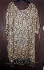 Shair Aide Nites USA 22W Fringed Sheer Gold Metallic Lace Dress 22W