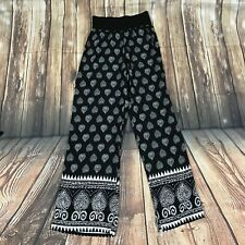 Boho Style Flare Pants With Knitted Elastic Waist Band