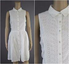 ex Next Broderie Anglasis White Shirt Summer Dress