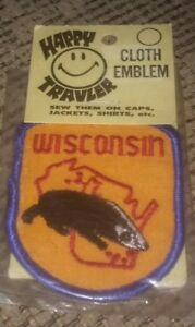 WISCONSIN STATE BADGER Happy Traveler Travel Patch Emblem Vintage NEW SEALED