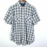 Nautica Mens Button Down Shirt Size L Plaid Print Multicolor Short Sleeve Cotton
