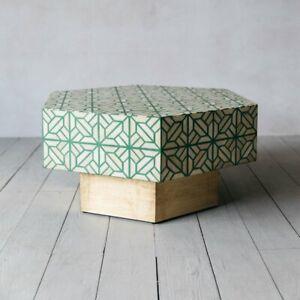 Fauni Bone Inlay Coffee Table Teal Green