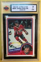 1984-85 O Pee Chee Rookie #259 Chris Chelios RC KSA Graded 7 Chicago Blackhawks