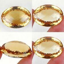 superbe citrine de Madagascar, taille ovale damier/141 carats (avec certificat)