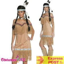 Womens Pocahontas Native American Indian Wild West Fancy Dress Party Costume