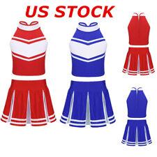 US Kids Girl Cheerleader Costume Uniform Cheerleading School Cosplay Fancy Dress