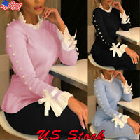 Womens Ruffle Long Sleeve Knitted Jumper Pullover Ladies Sweater Blouse Top US