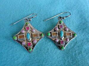 Vintage Barse Sterling Silver Genuine Pastel Stones Turquoise Dangle Earrings