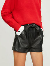 445$ Maje Leather Oversize shorts black  size L 40 NEW