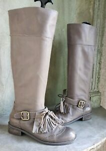 LUCKY PENNY Anthrolpologie taupe gray oxford fringe tall boots sz 6.5B