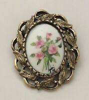 Vintage flower  leaf cameo brooch & Pendant