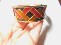 Orange Brown Enamel Gold Tone Metal Magnetic Hinged Bangle Bracelet Vintage