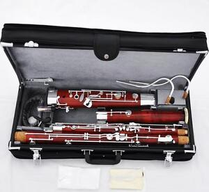 Professional Maple Wooden 25 Key Bassoon Silver Plated C Tone 2 Bocals New Case