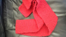 Handknitted Ladies scarf Red merino/mohair/blend 8cm by 1.2m never worn