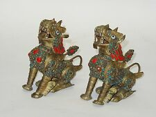 PAIR of ANTIQUE CHINESE STONE ENCRUSTED BRASS FU FOO DOG INCENSE BURNER BOX