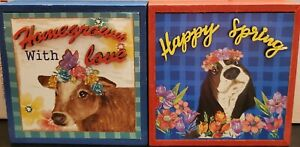 Pioneer Woman Spring 2021 Decoration Decor Shadow Box Set Of 2 Cow Charlie