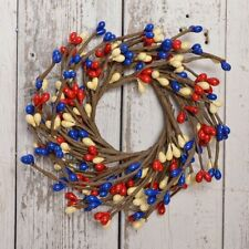 """AMERICANA MINI BERRY 2.25"""" CANDLE RING RED, WHITE, AND BLUE"""