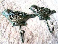 TWO Cast Iron BIRD Hooks, Hat, Key Rack, Indoor Outdoor Garden or Bath