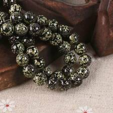 60pcs 8mm Black&Yellow Glossy Porcelain Imitated Coated Round Glass Loose Beads