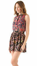Gryphon Mimi Sleeveless Silk Chiffon Dress in Black Pink Floral Print - Medium M