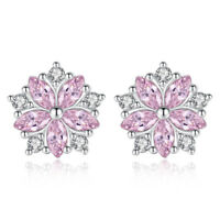 925 Sterling Silver Stud Earrings Oval Pink White Crystal Flower Shape For Women
