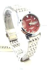 New Citizen Ladies Silver-tone, Burgundy-dial, Day-date-window Dress Watch