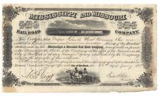 Stk Mississippi & Missouri RR 1858 Iowa s/p John A. Dix  Two GREAT vgnettes